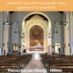 Disposizioni per l'accesso alle chiese – Aggiornamento 15/04/2020